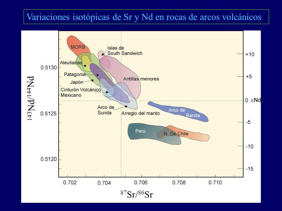 Variaciones isotópicas de Sr y Nd en rocas de arcos volcánicos