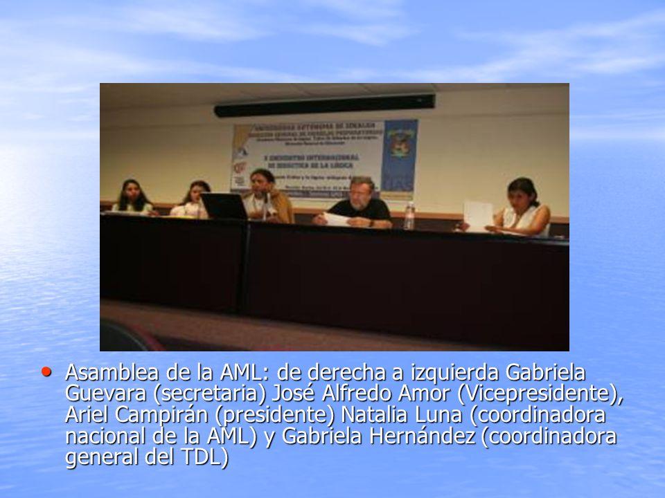 Asamblea de la AML: de derecha a izquierda Gabriela Guevara (secretaria) José Alfredo Amor (Vicepresidente), Ariel Campirán (presidente) Natalia Luna (coordinadora nacional de la AML) y Gabriela Hernández (coordinadora general del TDL)