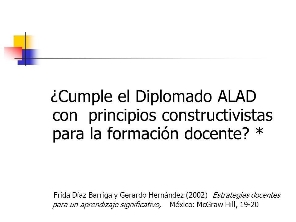 ¿Cumple el Diplomado ALAD con principios constructivistas para la formación docente *
