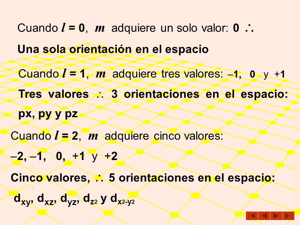 Cuando l = 0, m adquiere un solo valor: 0 