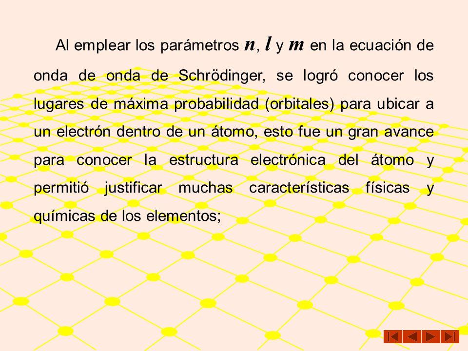 Al emplear los parámetros n, l y m en la ecuación de onda de onda de Schrödinger, se logró conocer los lugares de máxima probabilidad (orbitales) para ubicar a un electrón dentro de un átomo, esto fue un gran avance para conocer la estructura electrónica del átomo y permitió justificar muchas características físicas y químicas de los elementos;