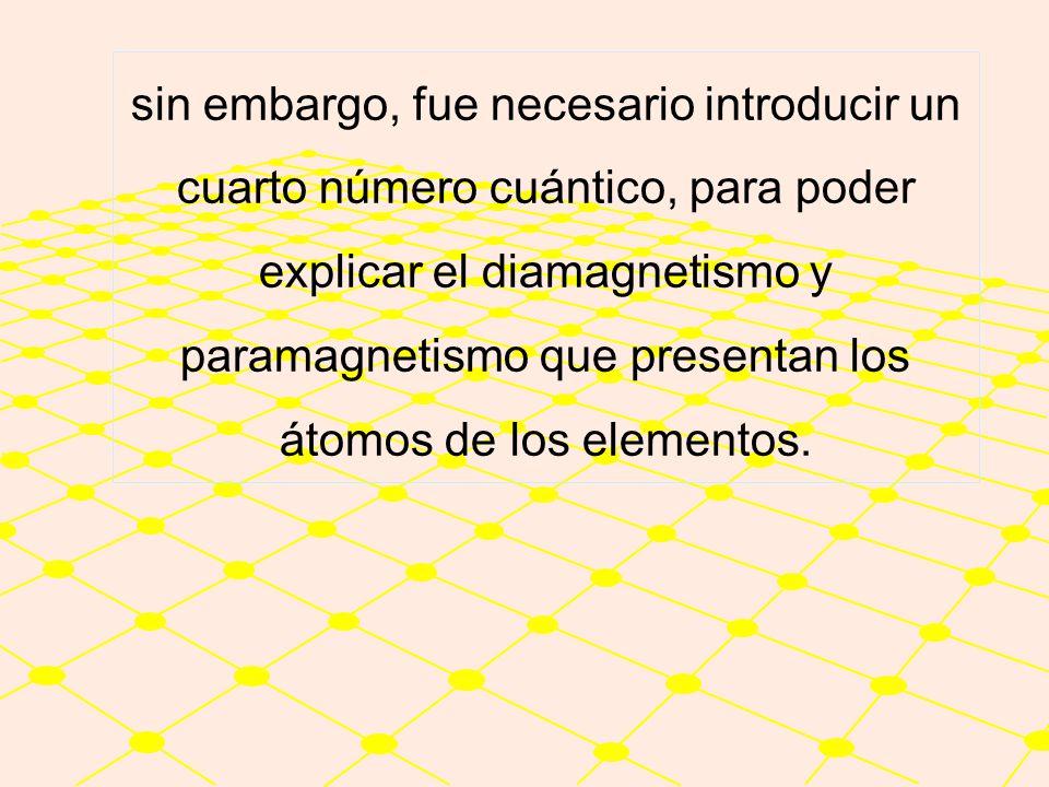 sin embargo, fue necesario introducir un cuarto número cuántico, para poder explicar el diamagnetismo y paramagnetismo que presentan los átomos de los elementos.