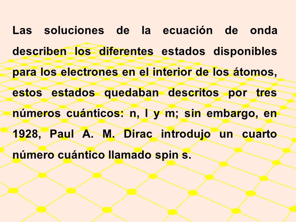 Las soluciones de la ecuación de onda describen los diferentes estados disponibles para los electrones en el interior de los átomos, estos estados quedaban descritos por tres números cuánticos: n, l y m; sin embargo, en 1928, Paul A.