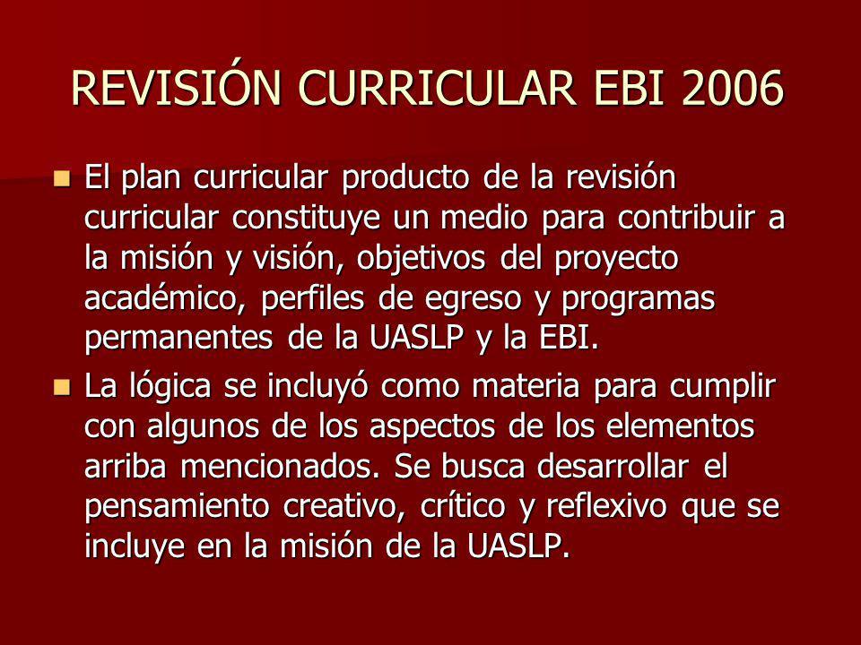 REVISIÓN CURRICULAR EBI 2006