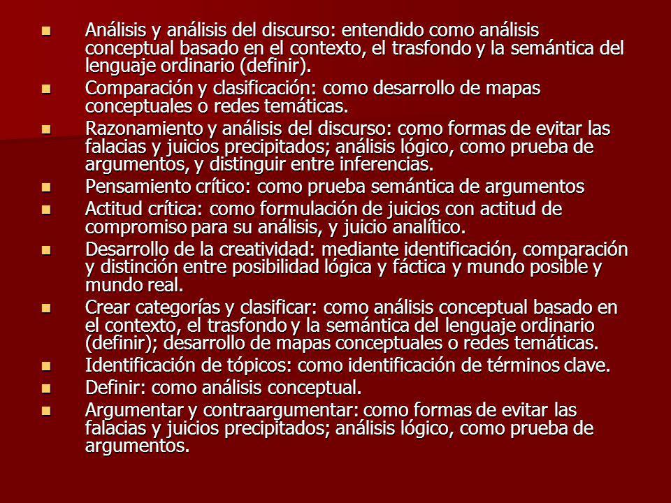 Análisis y análisis del discurso: entendido como análisis conceptual basado en el contexto, el trasfondo y la semántica del lenguaje ordinario (definir).