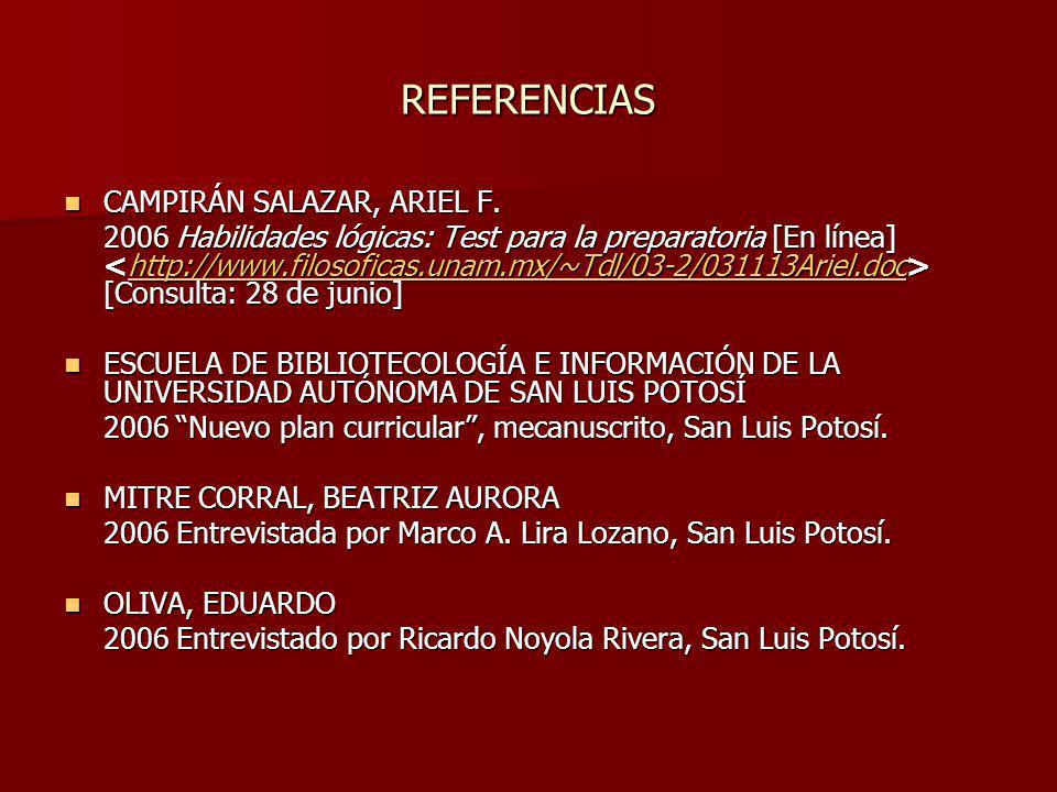 REFERENCIAS CAMPIRÁN SALAZAR, ARIEL F.