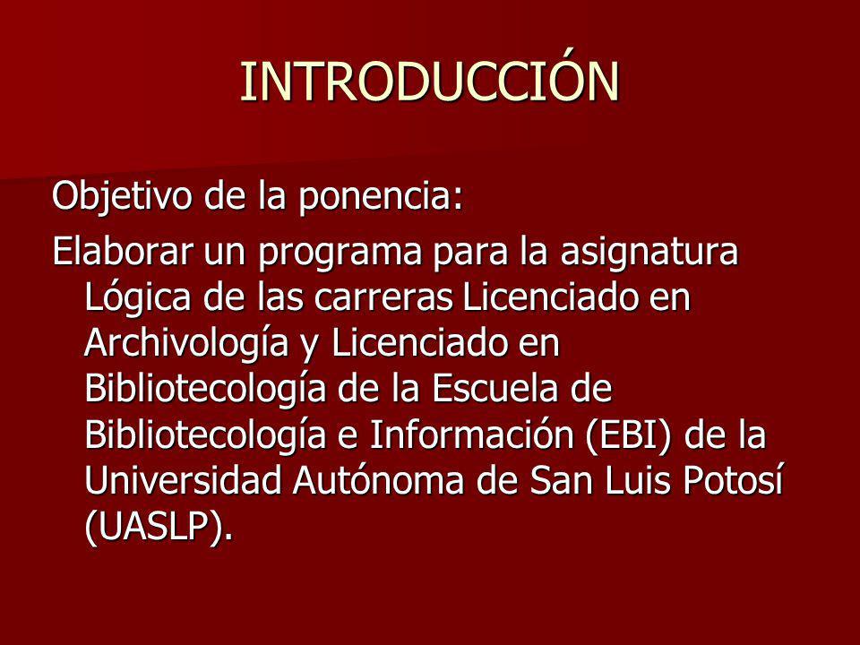 INTRODUCCIÓN Objetivo de la ponencia: