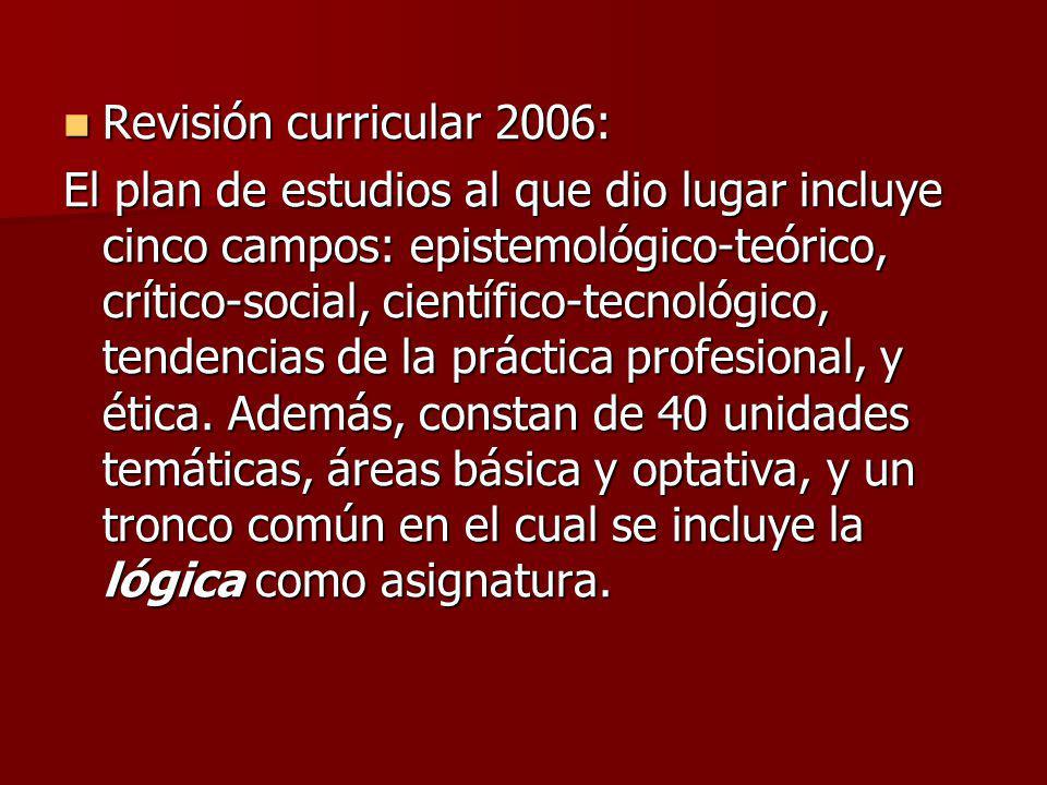 Revisión curricular 2006: