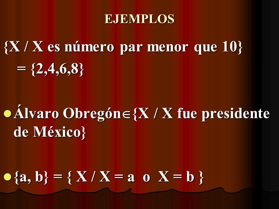 {X / X es número par menor que 10} = {2,4,6,8}