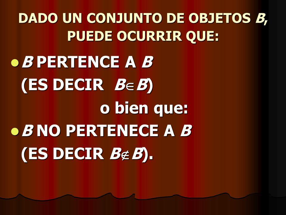 DADO UN CONJUNTO DE OBJETOS B, PUEDE OCURRIR QUE:
