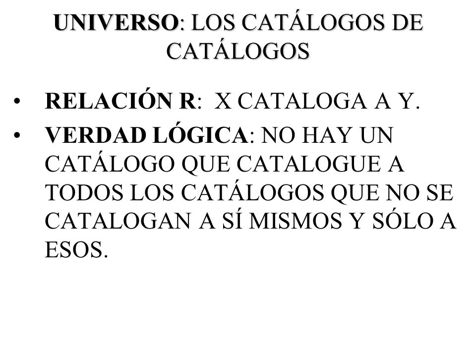 UNIVERSO: LOS CATÁLOGOS DE CATÁLOGOS