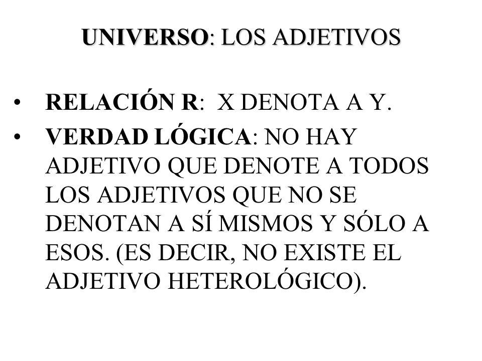 UNIVERSO: LOS ADJETIVOS