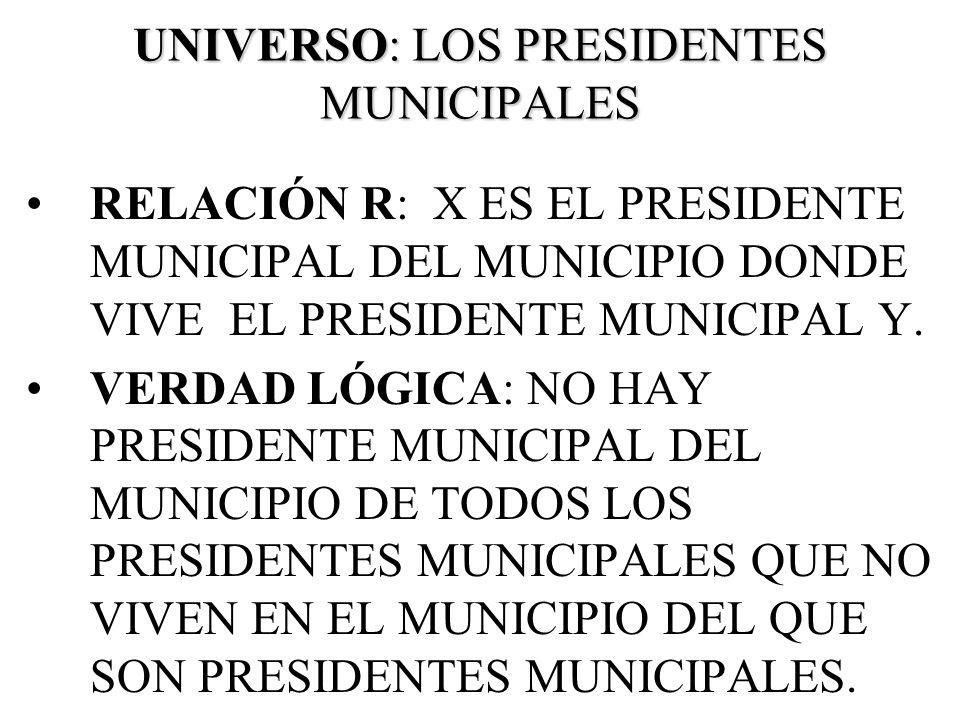 UNIVERSO: LOS PRESIDENTES MUNICIPALES