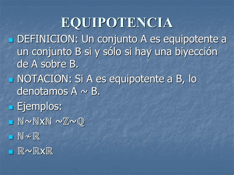 EQUIPOTENCIA DEFINICION: Un conjunto A es equipotente a un conjunto B si y sólo si hay una biyección de A sobre B.