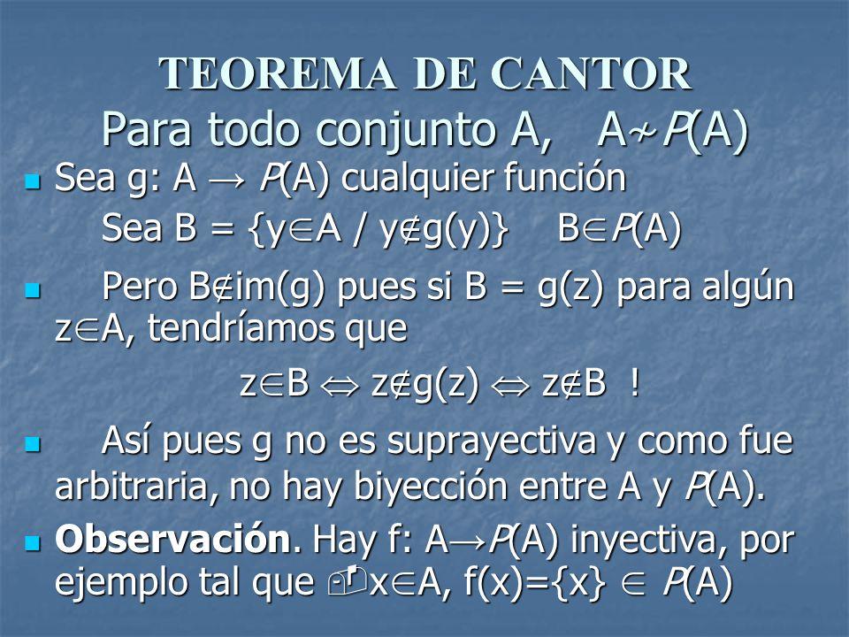TEOREMA DE CANTOR Para todo conjunto A, A≁P(A)