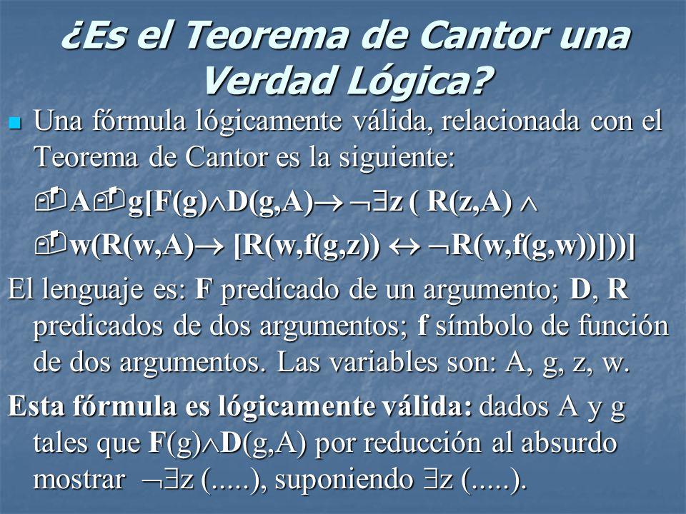¿Es el Teorema de Cantor una Verdad Lógica