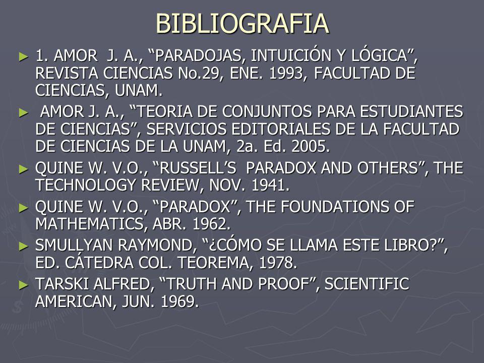 BIBLIOGRAFIA 1. AMOR J. A., PARADOJAS, INTUICIÓN Y LÓGICA , REVISTA CIENCIAS No.29, ENE. 1993, FACULTAD DE CIENCIAS, UNAM.
