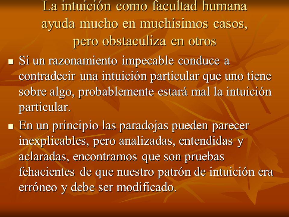 La intuición como facultad humana ayuda mucho en muchísimos casos, pero obstaculiza en otros