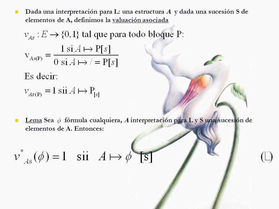 Dada una interpretación para L: una estructura A y dada una sucesión S de elementos de A, definimos la valuación asociada