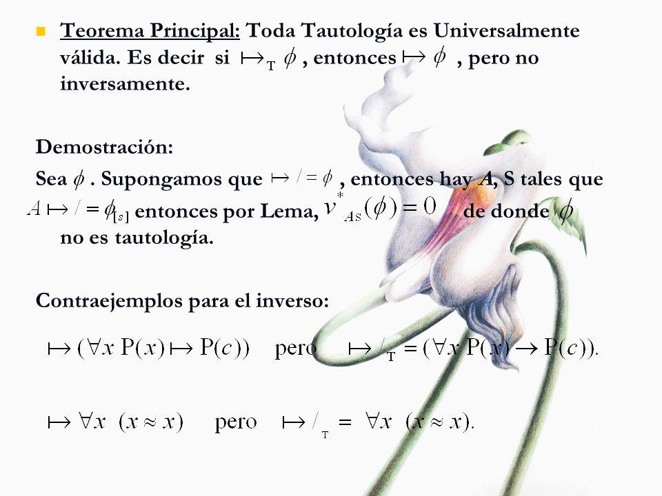 Teorema Principal: Toda Tautología es Universalmente válida