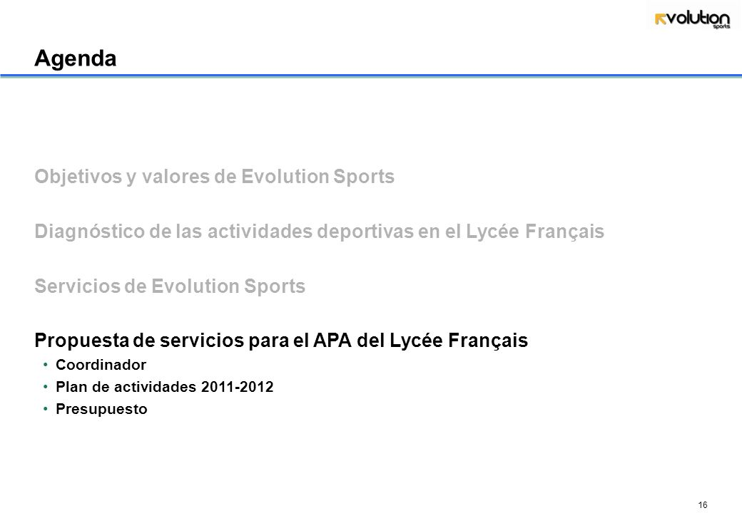 Agenda Objetivos y valores de Evolution Sports