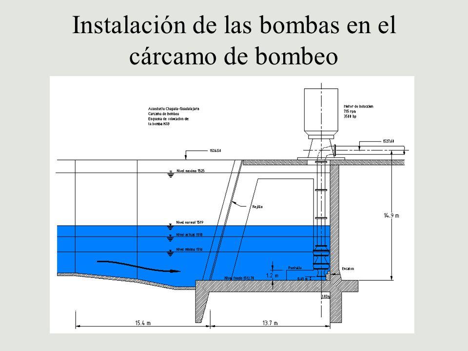 Instalación de las bombas en el cárcamo de bombeo