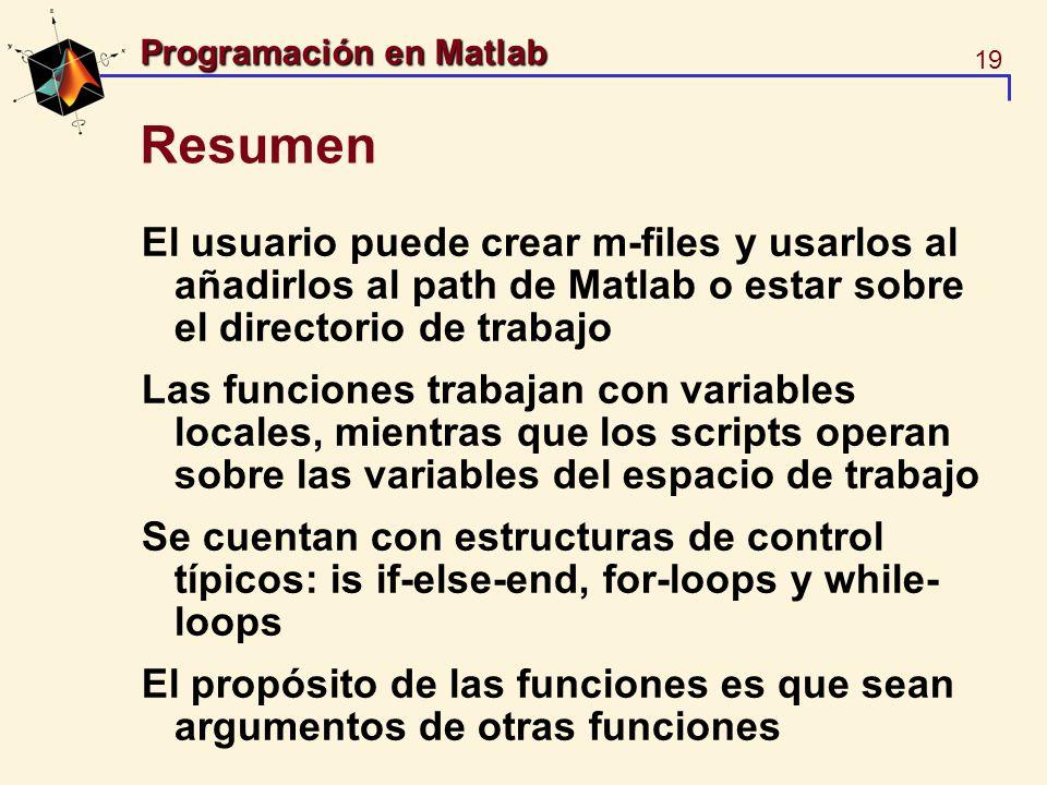 Resumen El usuario puede crear m-files y usarlos al añadirlos al path de Matlab o estar sobre el directorio de trabajo.