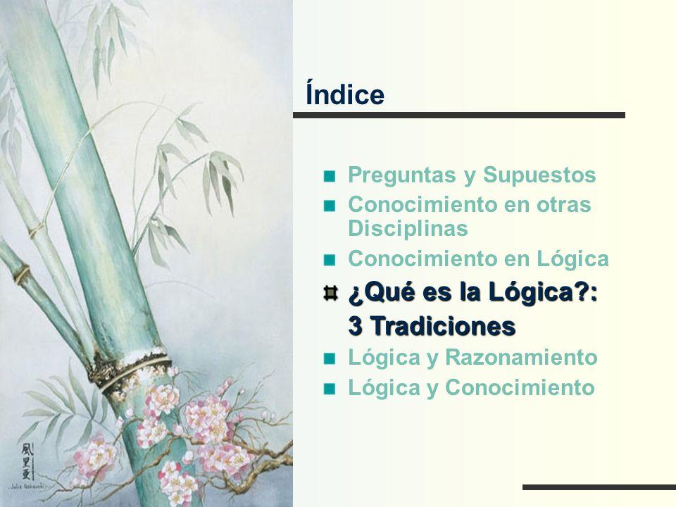Índice ¿Qué es la Lógica : 3 Tradiciones Preguntas y Supuestos