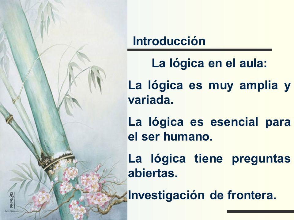 Introducción La lógica en el aula: La lógica es muy amplia y variada. La lógica es esencial para el ser humano.