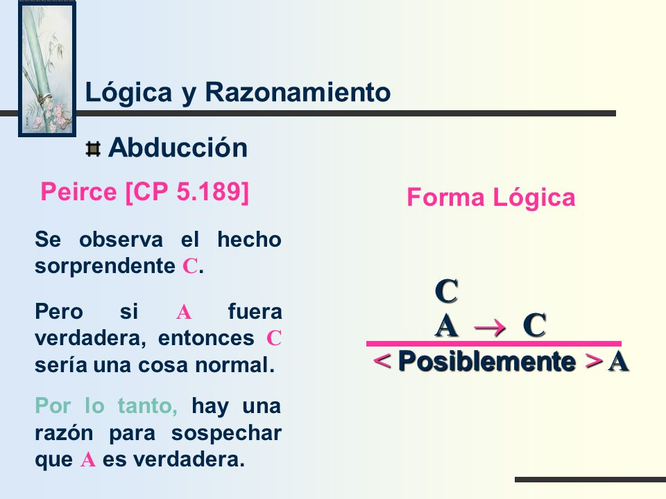 C A ® C < Posiblemente > A Lógica y Razonamiento Abducción