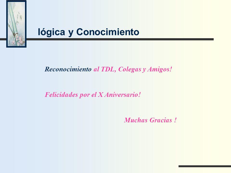 lógica y Conocimiento Reconocimiento al TDL, Colegas y Amigos!