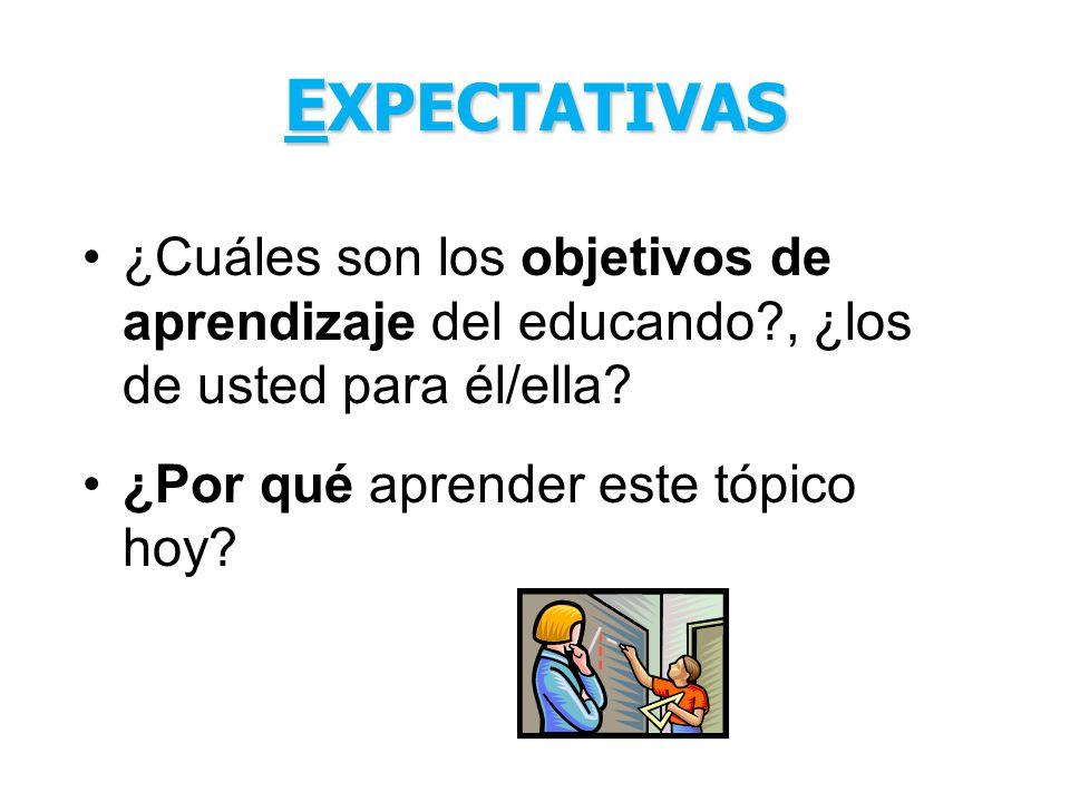 EXPECTATIVAS ¿Cuáles son los objetivos de aprendizaje del educando , ¿los de usted para él/ella.