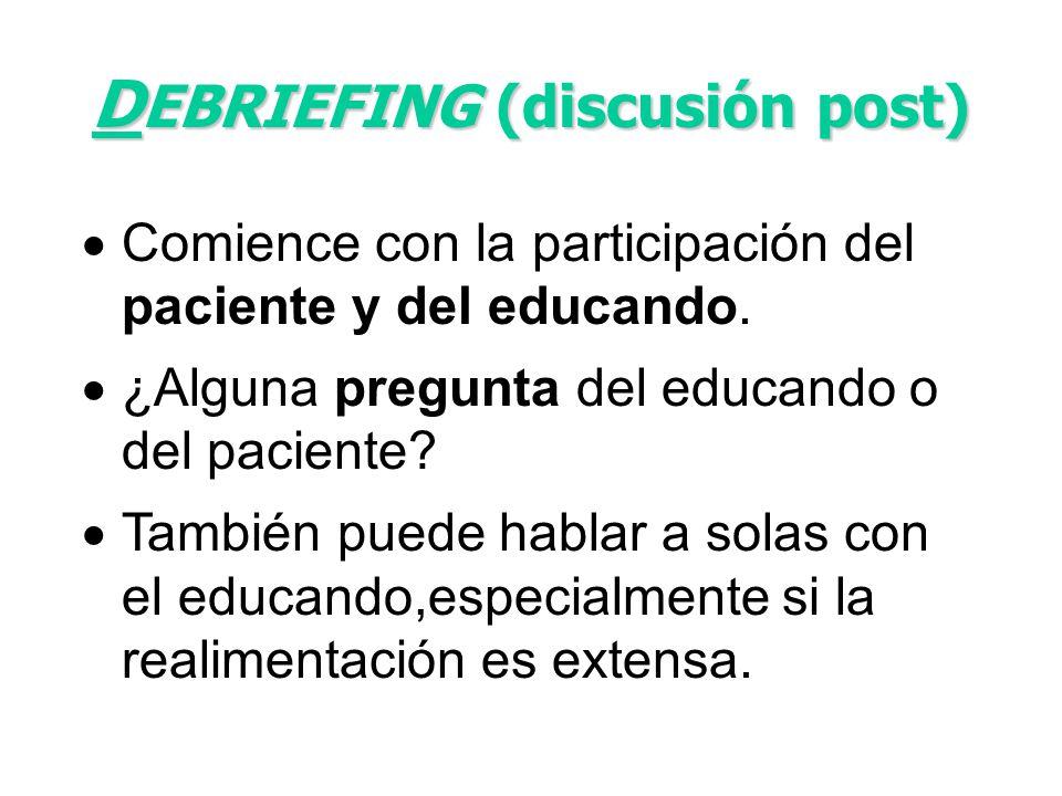 DEBRIEFING (discusión post)