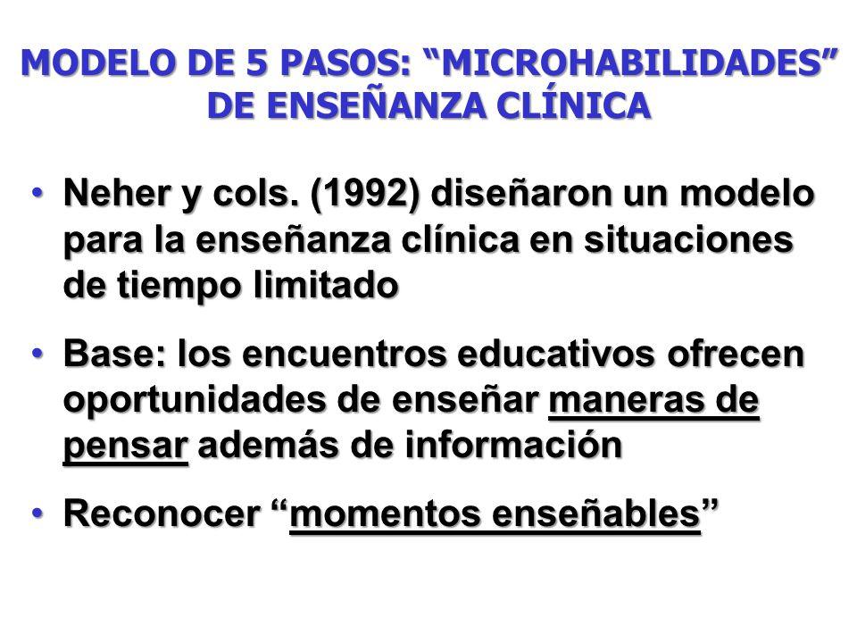 MODELO DE 5 PASOS: MICROHABILIDADES DE ENSEÑANZA CLÍNICA