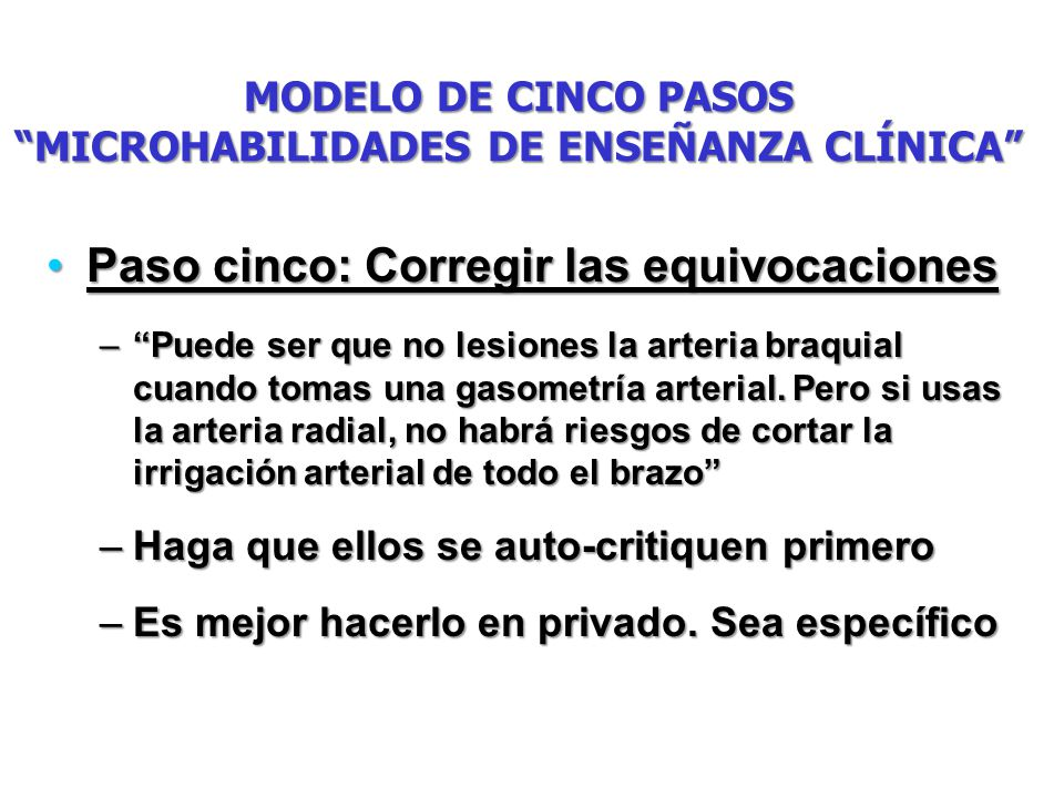 MODELO DE CINCO PASOS MICROHABILIDADES DE ENSEÑANZA CLÍNICA