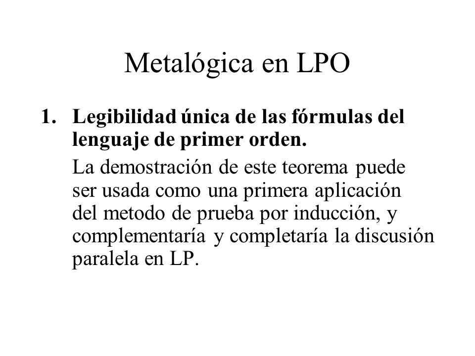 Metalógica en LPO Legibilidad única de las fórmulas del lenguaje de primer orden.
