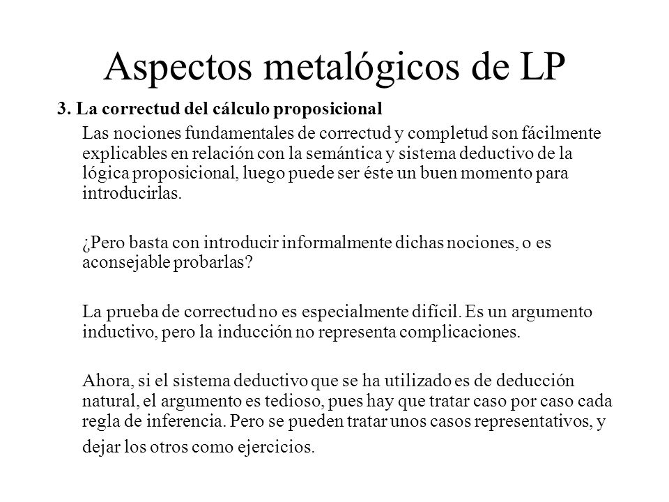 Aspectos metalógicos de LP