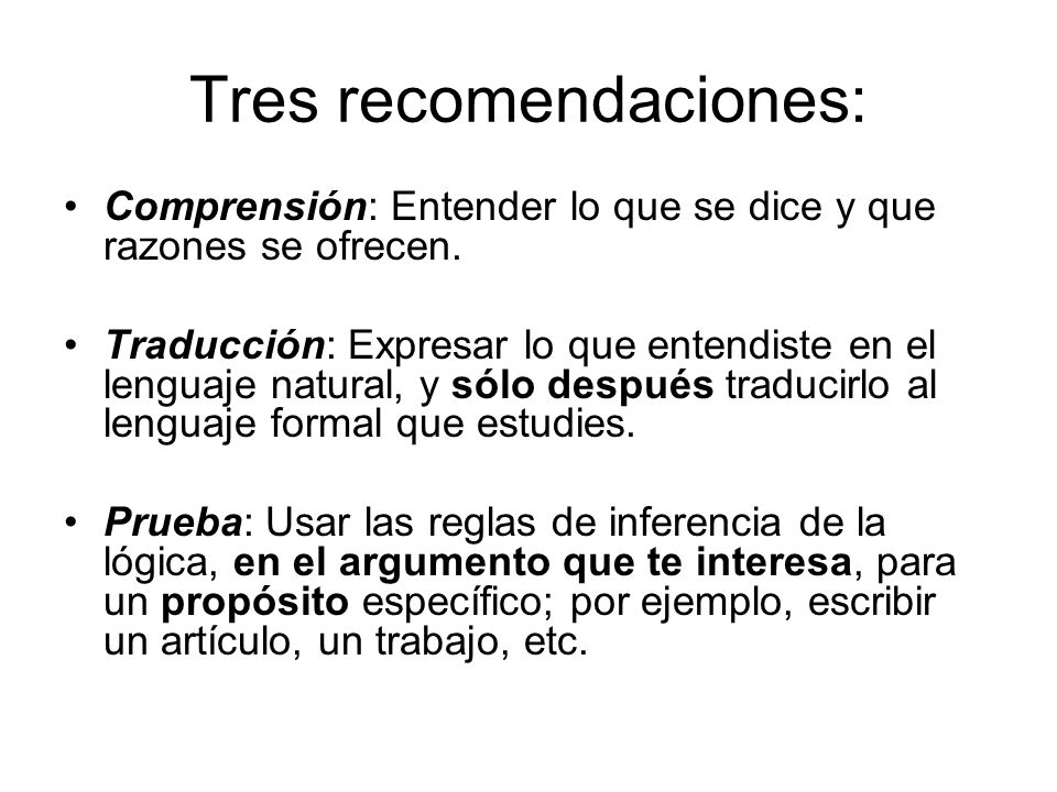 Tres recomendaciones: