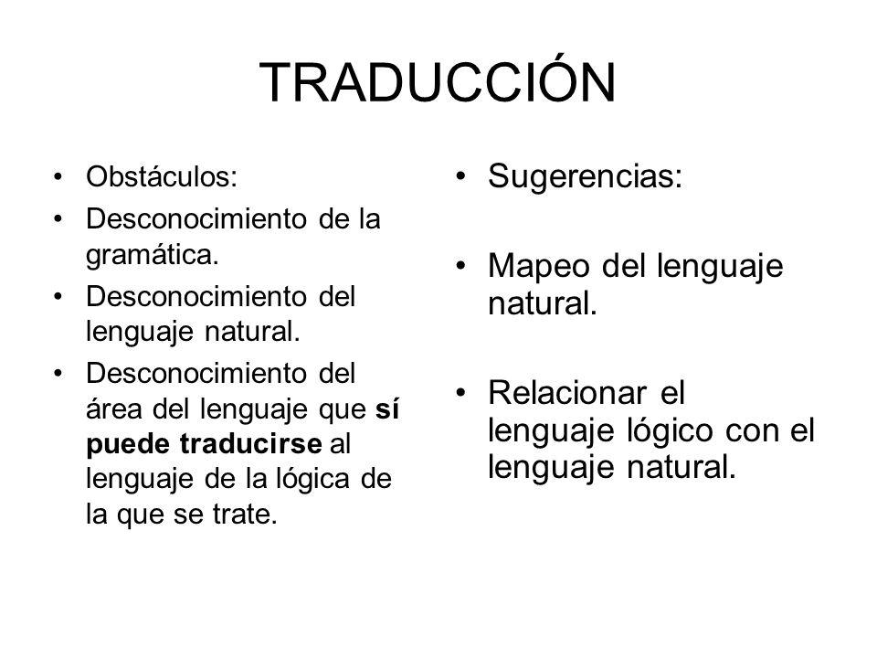 TRADUCCIÓN Sugerencias: Mapeo del lenguaje natural.
