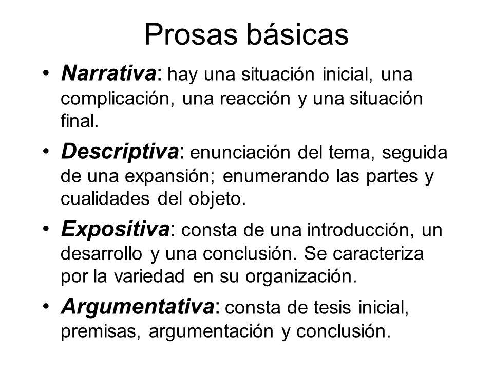 Prosas básicas Narrativa: hay una situación inicial, una complicación, una reacción y una situación final.