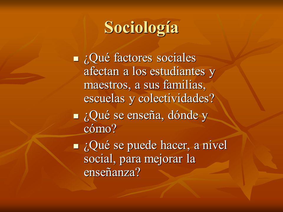Sociología ¿Qué factores sociales afectan a los estudiantes y maestros, a sus familias, escuelas y colectividades