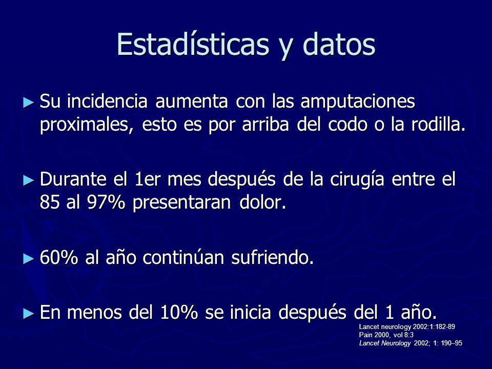 Estadísticas y datos Su incidencia aumenta con las amputaciones proximales, esto es por arriba del codo o la rodilla.