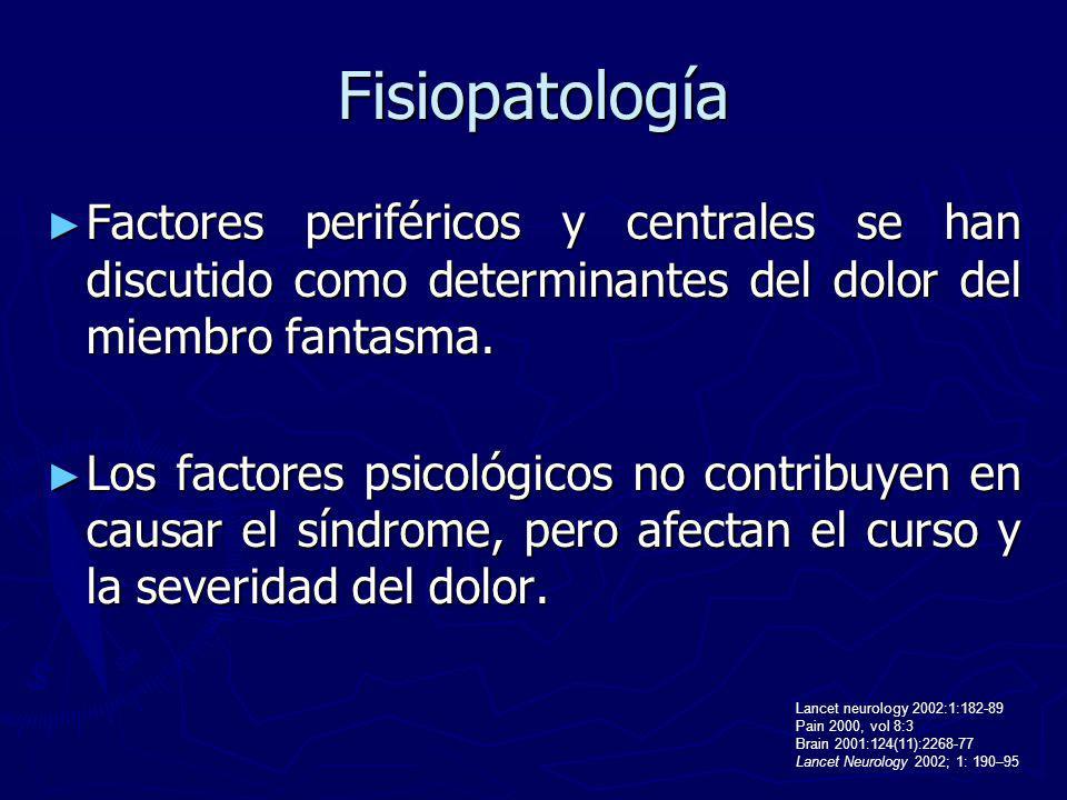 Fisiopatología Factores periféricos y centrales se han discutido como determinantes del dolor del miembro fantasma.