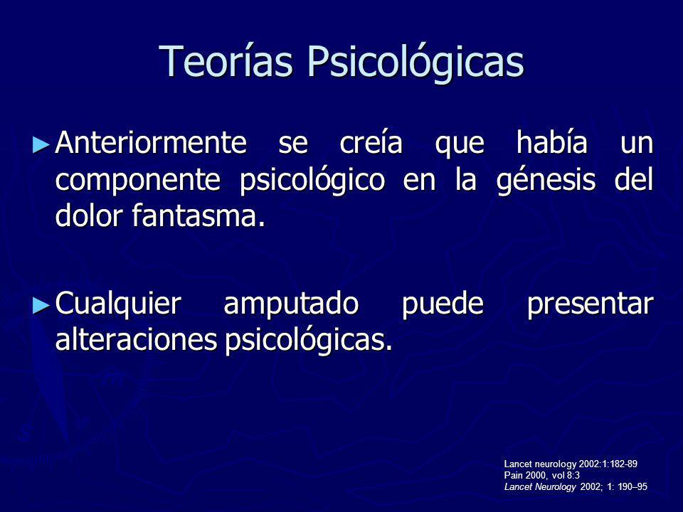 Teorías Psicológicas Anteriormente se creía que había un componente psicológico en la génesis del dolor fantasma.