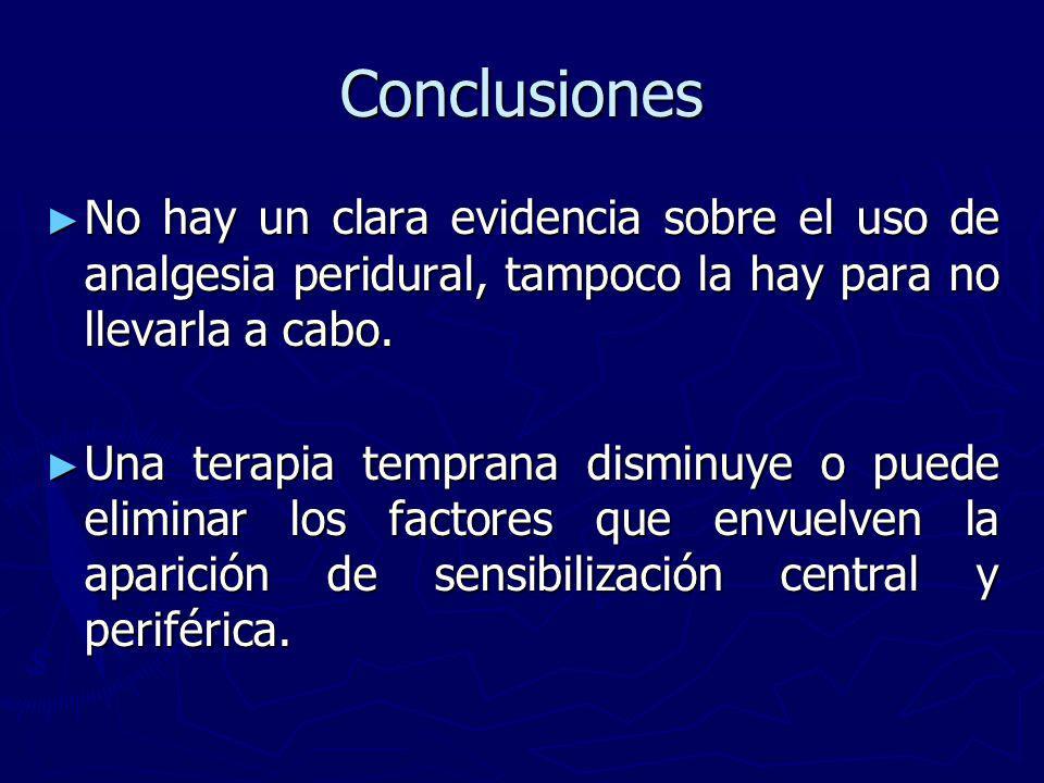 Conclusiones No hay un clara evidencia sobre el uso de analgesia peridural, tampoco la hay para no llevarla a cabo.