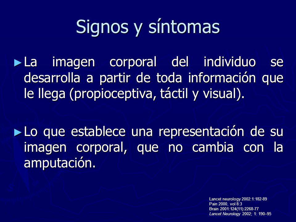 Signos y síntomas La imagen corporal del individuo se desarrolla a partir de toda información que le llega (propioceptiva, táctil y visual).
