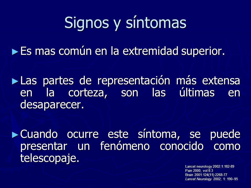 Signos y síntomas Es mas común en la extremidad superior.
