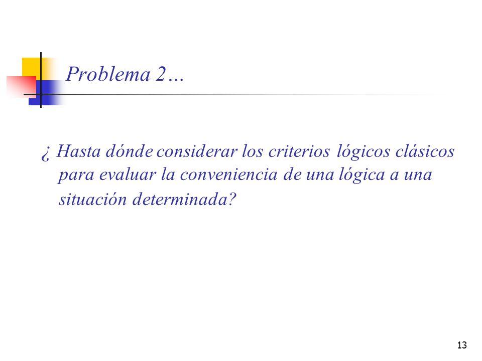 Problema 2… ¿ Hasta dónde considerar los criterios lógicos clásicos para evaluar la conveniencia de una lógica a una situación determinada