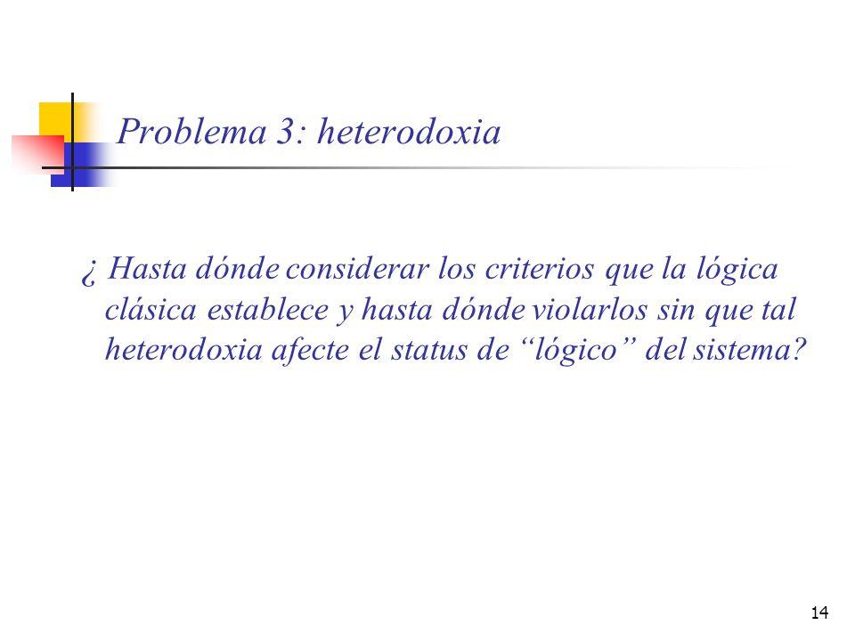 Problema 3: heterodoxia
