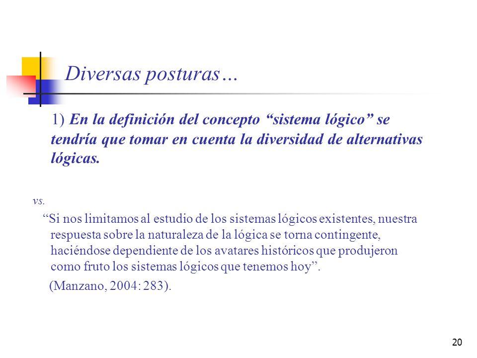 Diversas posturas… 1) En la definición del concepto sistema lógico se tendría que tomar en cuenta la diversidad de alternativas lógicas.